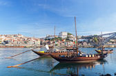 Old Porto and traditional boats with wine barrels, Portugal — Stock Photo