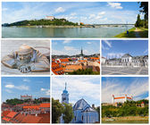 Set of photos with types of sights of Bratislava, Slovakia — Stock Photo