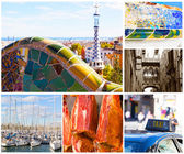 Set of photos with types of sights of Barcelona, Spain — Stock Photo