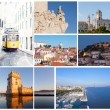 Set of photos with types of sights of Lisbon, Portugal — Stock Photo #40509193