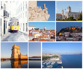 Set of photos with types of sights of Lisbon, Portugal — Stock Photo