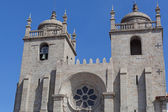 Se Catedral facade against the blue sky, Porto, Portugal — Stock Photo
