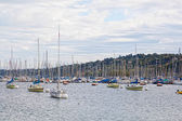 Yachts on the lake, Geneva. — Foto de Stock