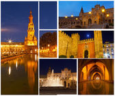 Set of photos with views of night Seville, Spain — Stock Photo