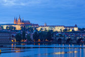 Night view of Prague - river Vltava — Stock Photo