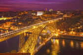 Bridge of Luis I at night over Douro river — Stock Photo