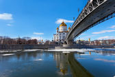 Cathedral of Christ the Saviour and Patriarshy Bridge — Zdjęcie stockowe
