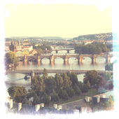 View of the Vltava River and bridges — Stock Photo