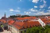 View of the historical center of Bratislava from the hill — Foto de Stock