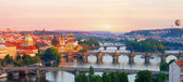 Vltava River and bridges in the summer evening, Prague — Stock Photo