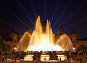 Night view of Magic Fountain light show — Stock Photo