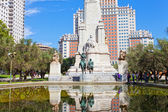 Monument to Cervantes, Don Quixote and Sancho Panza, Madrid — Stock Photo