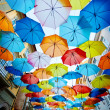 Street decorated with colored umbrellas — Stock Photo