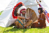 Family of North American Indians — Stock Photo