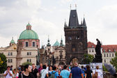 Tourists on Charles Bridge — Stock Photo