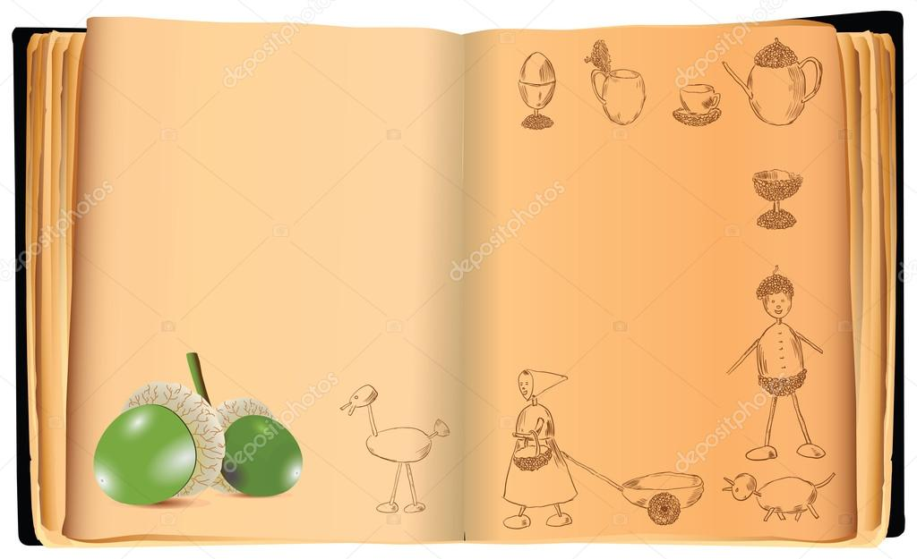An old book with crafts from an acorn. Vector illustration. — Stock Vector #12034112