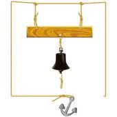 Bell y tablón de mensajes — Vector de stock