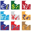 Stock Vector: Monetary symbols