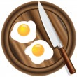 Wooden kitchen board and eggs - Stok Vektör
