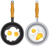 Set of saucepans with Scrambled eggs — Stock Vector