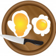 Wooden kitchen board and eggs — Stock Vector