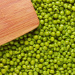 Wooden Board and Peas — Stock Photo