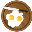 Wooden kitchen board and eggs — Stock Vector #13849255