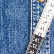 Stock Photo: Measuring Tape on Denim