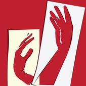 Papper utklipp med händer — Stockvektor