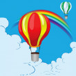 Balloons and rainbow — Stock Vector