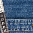 Measuring Tape on Denim — Stock Photo