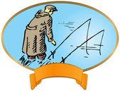 étiquette vintage sur la pêche — Vecteur