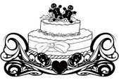 Vintage with cake — Stock Vector