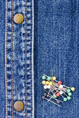 Pins on Denim — Stock Photo