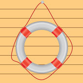White lifebuoy on the wall — Stock Vector