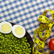 Eggs, Peas, and Tomatoes - Stock Photo