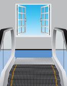 Escalator and open window — Stock Vector