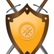 Medieval swords with shield - Stock Vector