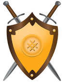 Medieval swords with shield — Stock Vector