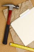 Martello e nastro di misurazione — Foto Stock