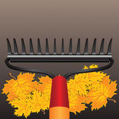 Rake and autumn leaves — Stock Vector
