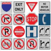 Conjunto de señales de tráfico — Vector de stock