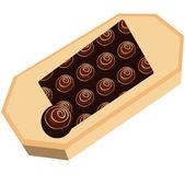 Caja de chocolates redondas — Vector de stock