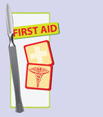 First Aid with a scalpel — Stock Vector