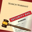 Stock Vector: Search Warrant and evidence