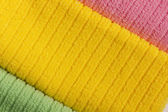 Three colored terry towels — Stock Photo