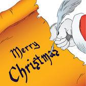 Wesołych świąt bożego narodzenia na pergaminie — Wektor stockowy