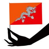 Bhutan flag in his hand — Stock Vector