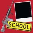 Stock Vector: Weapons and school