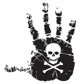 Handprint with skull — Stock Vector